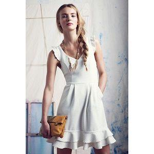 Maeve White Stripe Sunland Ruffle Flounce Dress 4P